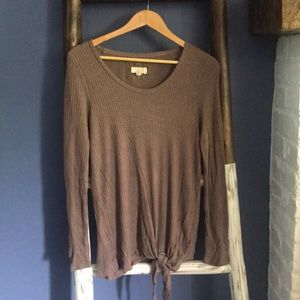 Cupio thermal knit top blouse shirt w/ tied waist